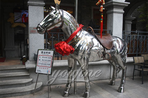 High mirror polished 316l Stainless Steel Horse Statue Sculpture