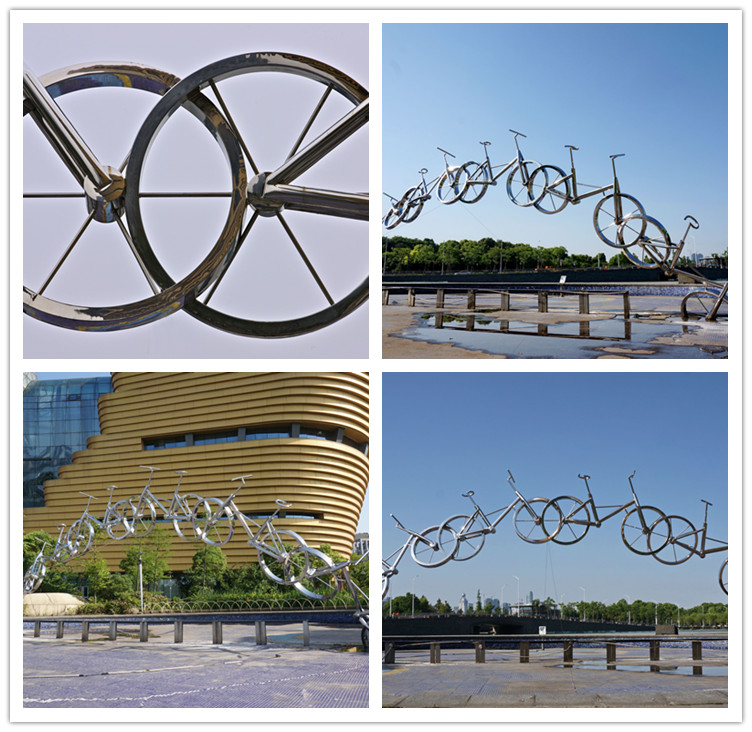 Park stainless steel abstract bike sculpture