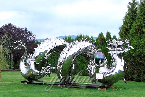 2017 New Design outdoor abstract stainless steel Dragon sculptures for sale