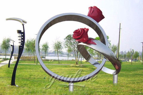 2017 New design Outdoor abstract stainless steel Rose Rings Sculpture for garden