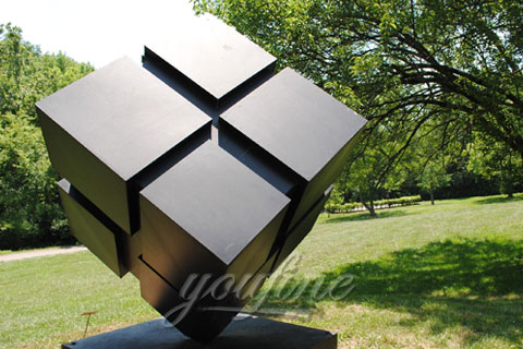2017 Outdoor abstract Modern garden stainless steel cube sculpture for sale
