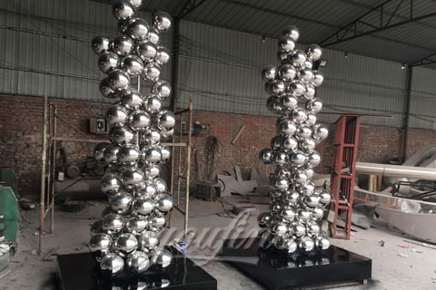 Custom Outdoor made Popular abstract outdoor stainless steel ball sculptures for garden decoration