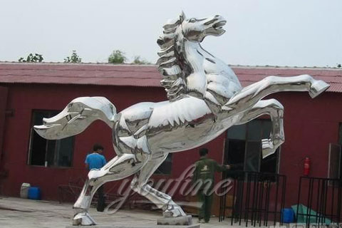 Garden Outdoor Abstract Horse Sculptures Metal In Stainless Steel for Sale