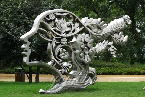 Mirror Polished Outdoor Stainless Steel Beautiful Girl Head Park Sculptures for Sale