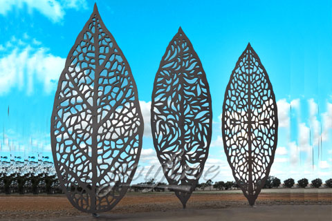 New Design Modern Outdoor Abstract Stainless Steel Three Leaves Sculpture for sale