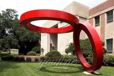 Outdoor Modern Abstract stainless steel Two Circles Kissing sculptures for garden or yard for Sale