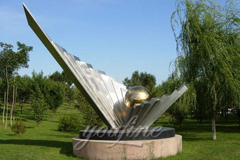 Outdoor Modern Garden Mirror polished modern stainless steel sculpture for sale